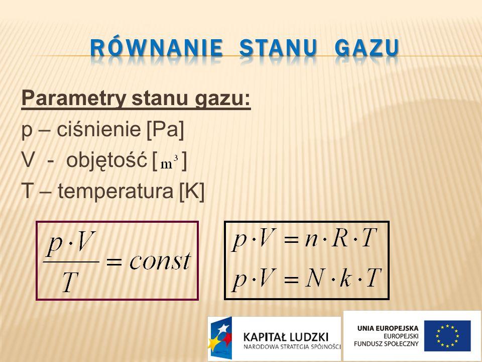 RÓWNANIE STANU GAZU Parametry stanu gazu: p – ciśnienie [Pa] V - objętość [ ] T – temperatura [K]